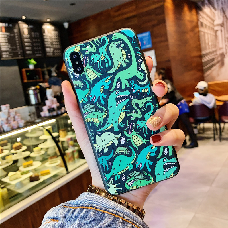 Cartoon <font><b>Dinosaur</b></font> Painting Phone <font><b>Case</b></font> For <font><b>iphone</b></font> X XR XSMax <font><b>Case</b></font> For <font><b>iphone</b></font> 6s 6 8 <font><b>7</b></font> plus XS Cover Fashion Matte Soft <font><b>Cases</b></font> Capa image
