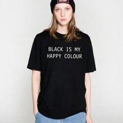 COOLMIND BL0111B 100% cotton soft summer women T shirt casual black is my happy color print Tshirt women short sleeve T-shirt 2