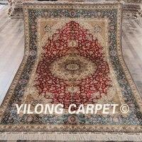 Yilong 6'x9 'türk tasarım halı kilim fars ipek kırmızı satılık (ZQG097A6x9)