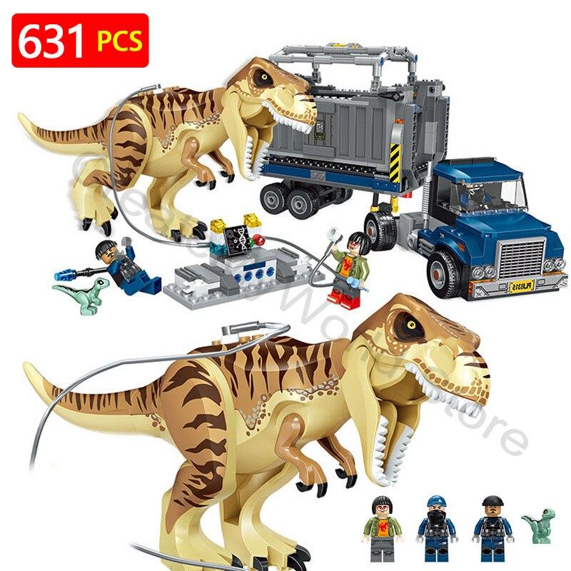 Monde jurassique Film 2 Blocs LegoINGLYS Dinosaure Transport Tyrannosaurus Rex Préhistorique Animaux Briques Jouets Pour Enfants