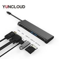 USB C HUB to HDMI 4K VGA 1080P With SD Card Reader Type C USB 3.0 HUB Thunderbolt 3 Adapter For Macbook Samsung Type C HUB