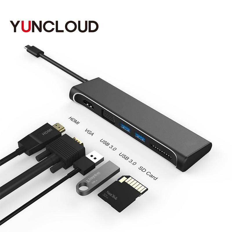 USB C HUB to HDMI 4K VGA 1080P With SD Card Reader Type-C USB 3.0 HUB Thunderbolt 3 Adapter For Macbook Samsung Type C HUB usb c to hdmi vga usb 3 0 hub type c to hdmi vga adapter with 3 usb 3 0 port for new macbook samsung s8 plus lenovo thinkpad p5