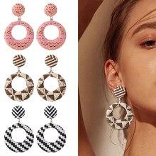 HOCOLE Geometric Circle Wood Earrings For Women Bohemian Wooden Rattan Knit Drop Wedding Jewelry Gift Wholesale 2019