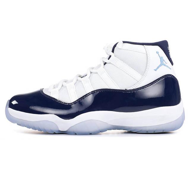 new product a2c92 ec893 Nike AIR JORDAN 11 RETRO AJ11 Men's Basketball Shoes, White & Dark Blue,  Shock Absorption Wear Resistant Breathable 378037 123