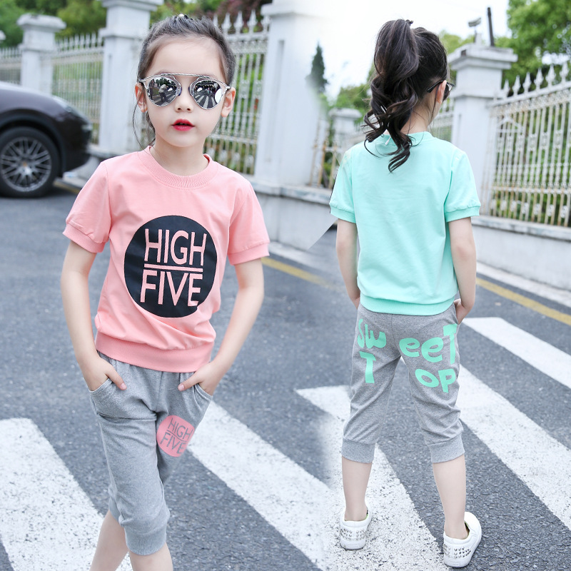 Girls clothing set  Kids clothes Vetement fille summer 2017 children print suits Short Sleeve t-shirts+cropped pants twinset kids clothes set zootopia cotton summer suit baby boys clothes long sleeved tshirt pants next vetement fille children clothing