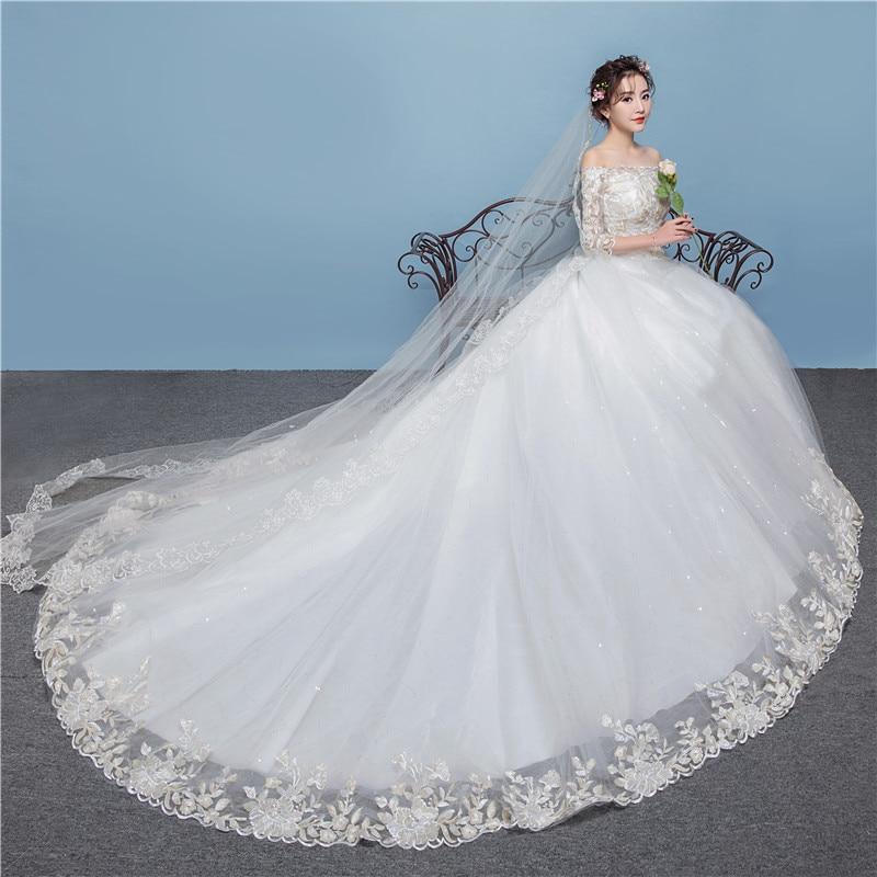 Women's Off Shoulder Luxury Lace Wedding Dresses Elegance Wedding Gown