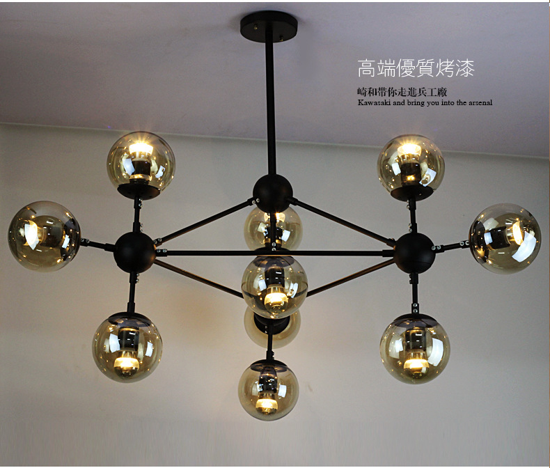 Magic Beans Pendant font b Lights b font DNA Lustres wrought iron industrial Cafe project lamps