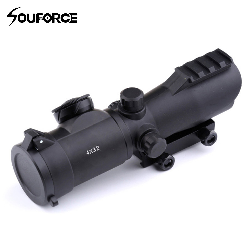 4X32 Hunting Scope Sight Riflescope Red/Green Mil Dot Illumination Rifle Scope for Tactical Airsoft Hunting Shooting tactial qd release rifle scope 3 9x32 1maol mil dot hunting riflescope with sun shade tactical optical sight tube equipment