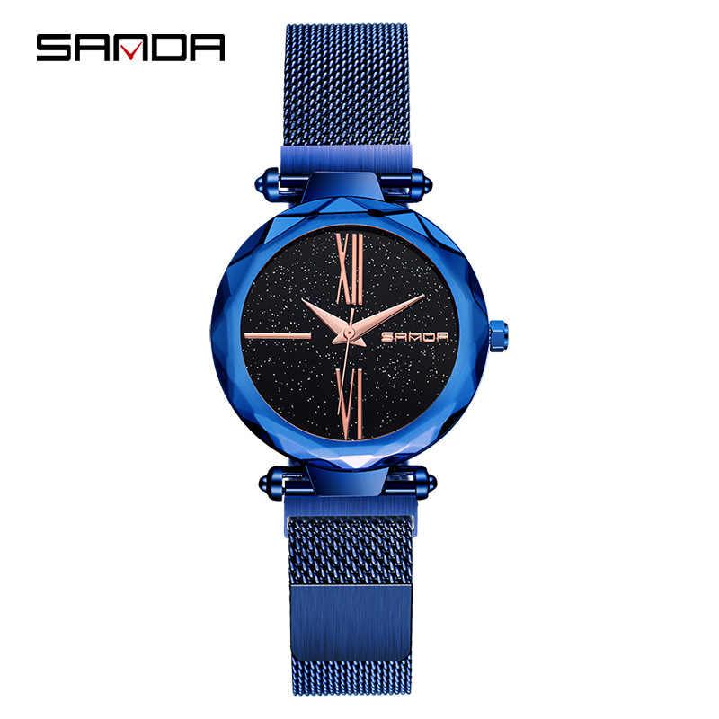 Nowa moda Sanda panie zegarek kwarcowy zegarek na co dzień sukienka japonia Movt jakości milanese loop pasek stalowy zegarek z magnetyczna klamra