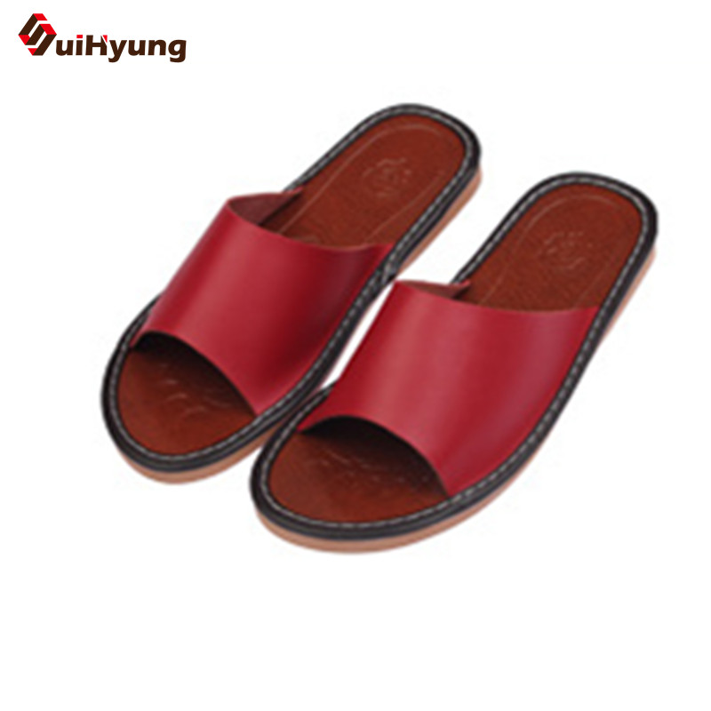 SuiHyung Summer New Leather Slippers Soft Non-slip Home Indoor Shoes Beach Slippers Cowhide Slippers for Men and Women dichotomanthes end wushu shoes for men and women section is better than soft cowhide leather shoes practicing taijiquan