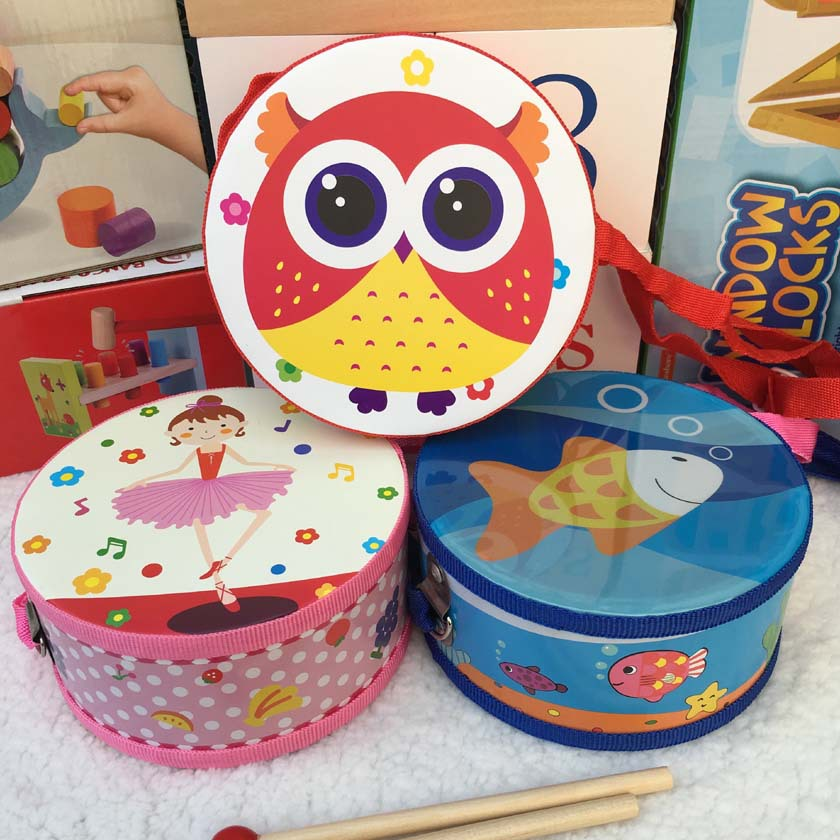 2020 New Wooden Baby Cartoon Hand Double-sided Drum Puzzle Educational Toys Musical Educational Toy Instrument For Party Gifts