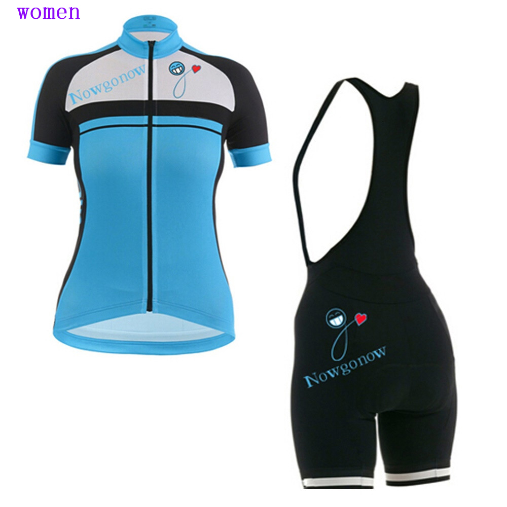 Women short sleeve New Cycling jersey Summer ropa Ciclismo MTB Mountain Bike Jersey sets bib shorts blue green cycling clothing