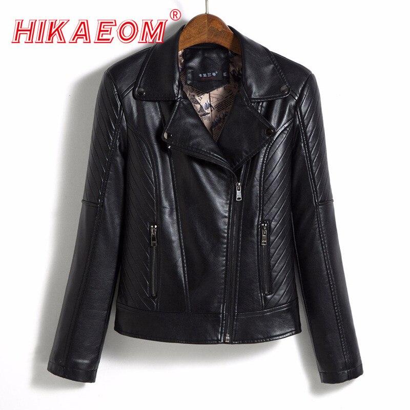 fashion PU   Leather   Jacket Zipper Pockets jaqueta de couro women lady autumn Short Washed faux   leather   Biker Basic Jackets Women