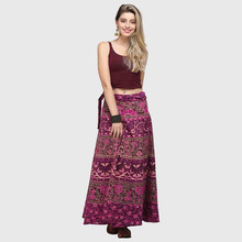 Boho Wrap Around Floral Print  Maxi Skirt Women Elegant Indian Tribal Style Bohemian Long Hippy Beach Skirt Belted For Ladies недорого