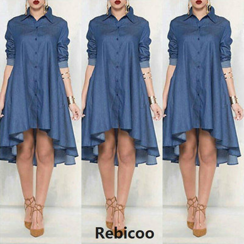 New Women Plus Size Jeans Dress Denim Loose Mini Irregular Long Sleeve Dresses Blue Xl