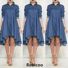 New Women Plus Size Jeans Dress Denim Loose Mini Irregular Long Sleeve Dresses Blue Xl
