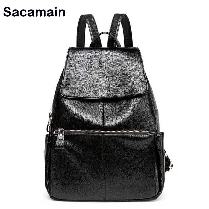 Sacamain marque sac à dos jeunesse noir sac à dos femmes en cuir véritable sac à dos sacs d'école dame mode voyage sac à bandoulière