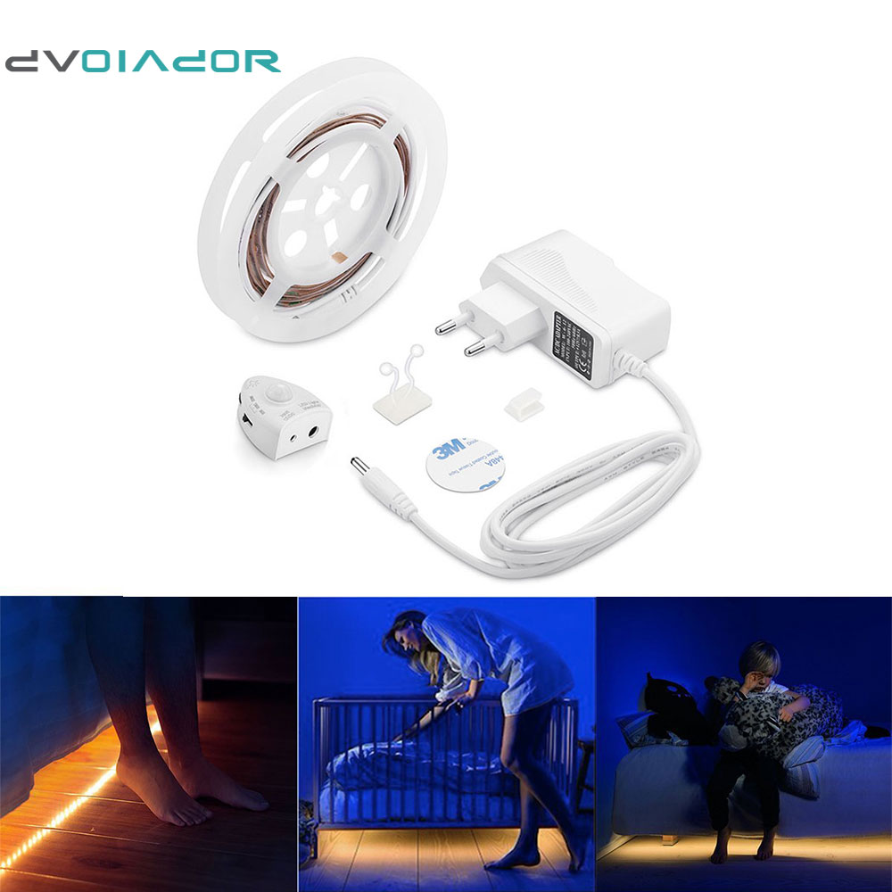 DVOLADOR Dimmable Bed Light with Motion Sensor and Power Adapter, Under Bed Light Motion Activated LED Strip for Baby room Stair motion activated blue light 7 led message display wheel lights for bikes and cars