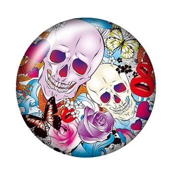 Fashion Skull girl Ghosts 10pcs 12mm/18mm/20mm/25mm Round photo glass cabochon demo flat back Making findings ZB0467 1