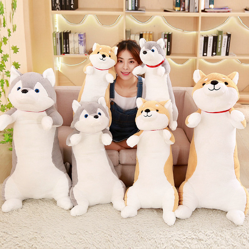 купить 60-100cm Cute Corgi Dog Plush Toys Soft Kawaii Animal Cartoon Dog Stuffed Plush Sofa Pillow Lovely Christmas Presents for Kids по цене 841.81 рублей