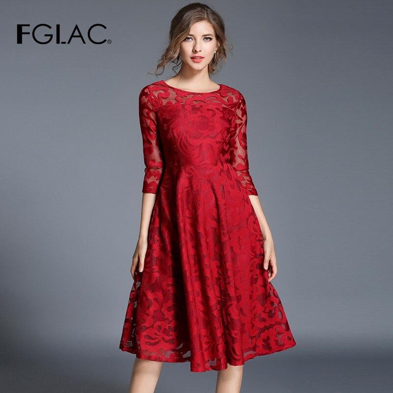 FGLAC 5XL Plus size women lace dress New Fashion 3 4 Sleeve vestidos de fiesta de