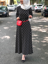 Muslim Women Dots Long Dresses Arab Fashion Chiffon with Sashes
