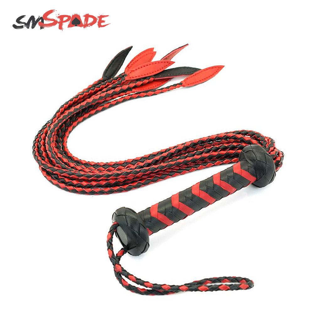 60cm Black&Red Braided Handle Tails Handle Leather Flogger, Handmade Horse Whip, Horse Racing Flogger, Free Shipping Knout