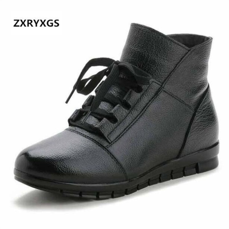 ZXRYXGS Brand Boots Warm Plush Real Leather Shoes Woman Boots Snow Boots 2018 Winter Flat Non