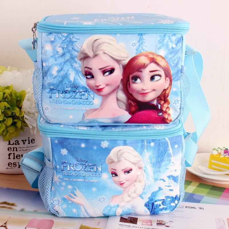 Disney Frozen Princess Elsa Anna Handcuffs Diagonal Cross Lunch Bags Bento Bag Cartoon Food  Insulation Pack Lunch Box For Kids