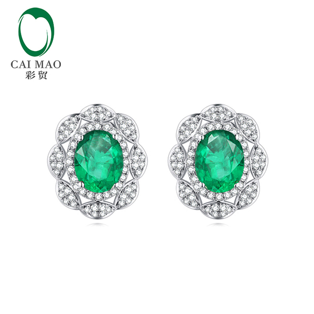 8a0e3fbfc6c1d US $780.0 |Caimao Classic Retro 14K White Gold 1.68ctw Natural Emerald  Diamond Earrings Studs Gorgeous Jewelry-in Earrings from Jewelry &  Accessories ...