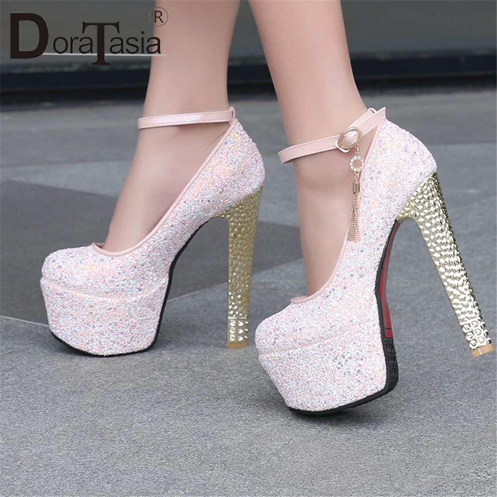 DORATASIA 2019 Spring Plus Size 33 48 New Sexy Women Glitters Platform Pumps For Party Wedding
