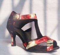 HXYOO Ladies Satin Mềm Sole Red Flower với Bạc Salsa Giày Dép cho Khiêu Vũ Phụ Nữ Khiêu Vũ Latin Giày GM0161