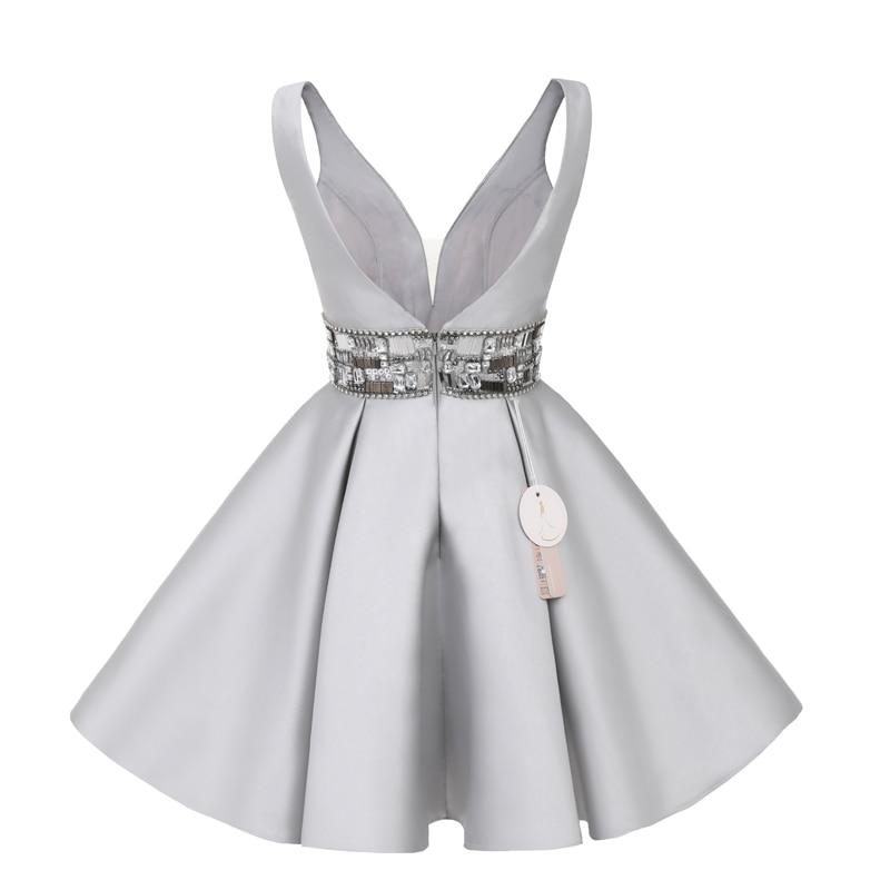 Sunvary Real Image korte homecoming jurk knie lengte mini grijs - Jurken voor bijzondere gelegenheden - Foto 4