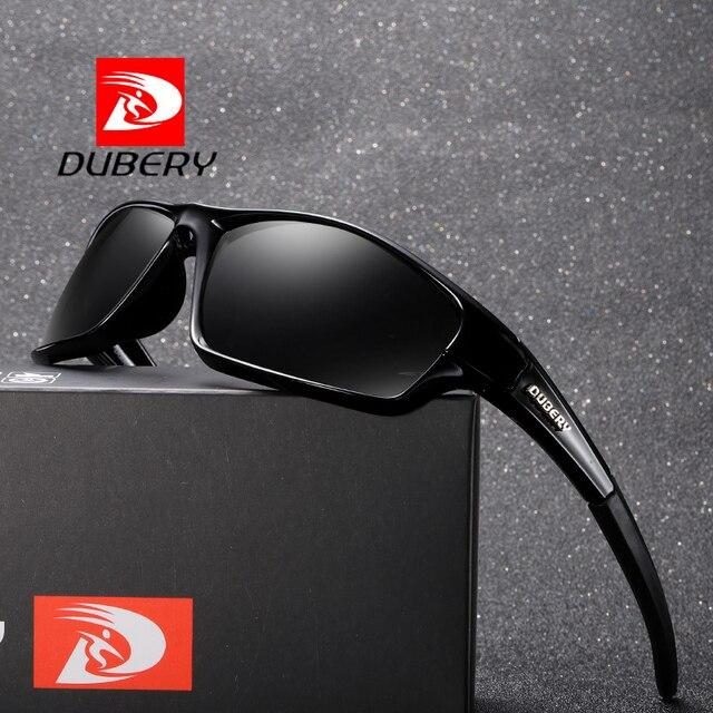 96473e4982 DUBERY polarizado gafas de sol de la marca de los hombres de diseño espejo  rectángulo deporte