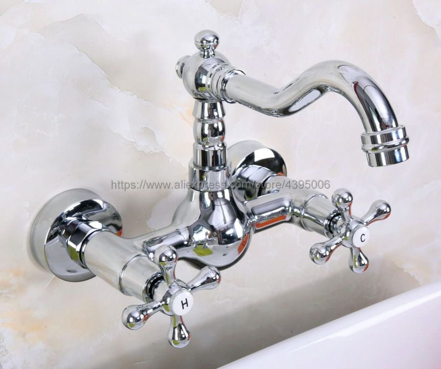 Polished Chrome Wall Mounted Two Handles Kitchen Sink Bathroom basin Faucet mixer tap Bnf968