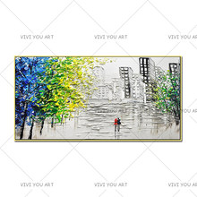 Knife Painting Canvas Abstract Modern City Picture Handmade Knife Painting Buildings Oil Paintings for Living Room (No Frame)(China)