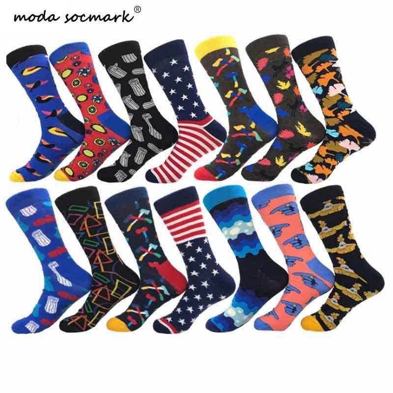 Moda Socmark 2020 New Hip Hop Cotton Men's Socks Harajuku Happy Funny Ax Leaf Comb Dress Socks For Male Wedding Christmas Gifts