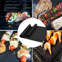 5*3pcs Reusable Non Stick BBQ Grill Mat Pad Baking Sheet Meshes Portable Outdoor Picnic Cooking Barbecue Tool