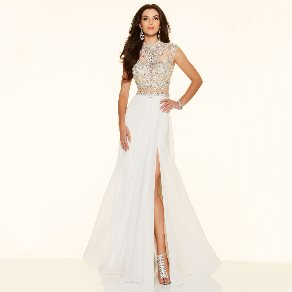 Sparkly Crystal Crop Top Flowing Split A-Line One Piece Evening Dress 5