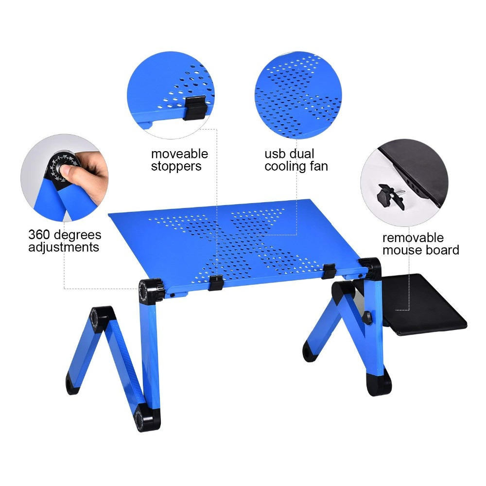 Alloy Laptop Table Simple Portable Folding Computer Desk Adjustable Laptop Desk With Mouse Pad Cooling Fans