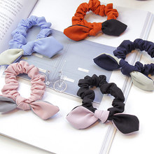 1PC Solid Scrunchies Girls  Hair Tie Women Bunny Cute Rabbit Ear Elastic Hair band Hair Rope Gum for Girls Ponytail Holder for new hitech inch hmi touch screen plc hmi operator panel display mono stn lcd pws6600s p 640 480 2com warranty 5 7 inch