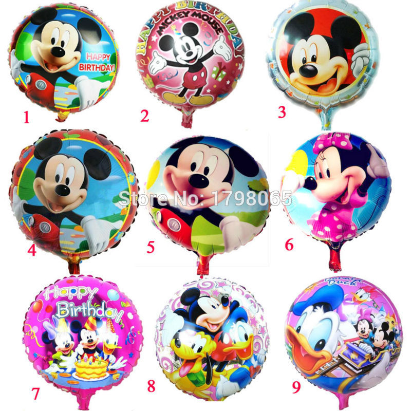 """18/"""" Redondo Mickey Mouse Y Sus Amigos Feliz Cumpleaños Foil Globo De Helio Fiesta"""