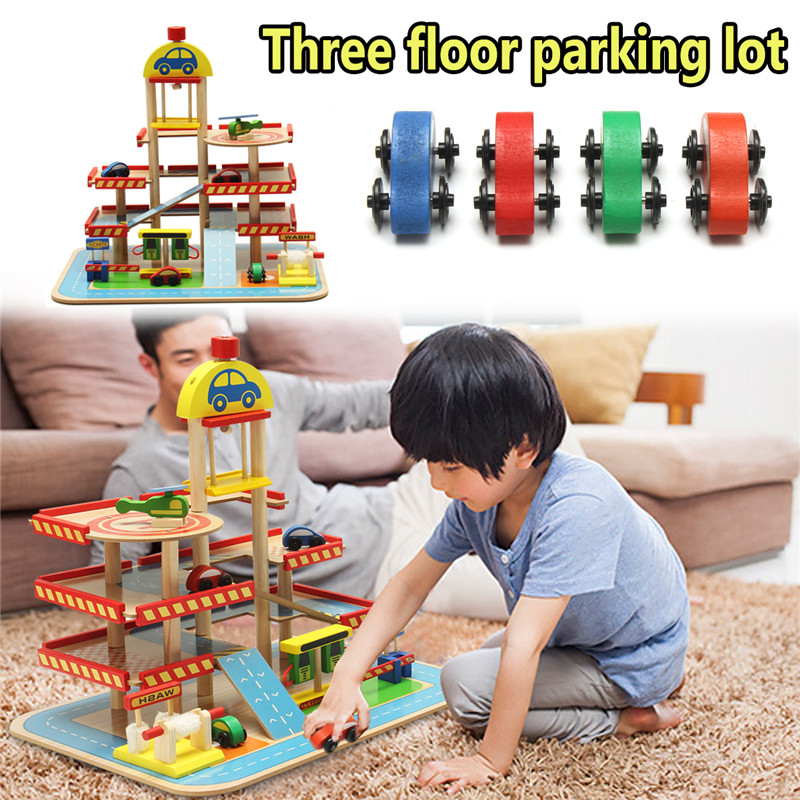 Home DIY Children Kids Pretend Play Toys Wooden Three-floor Car Truck Parking Assembly Lot Child Educational Toy Christmas Gift стоимость