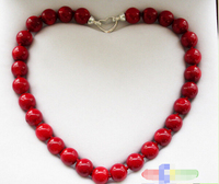 Free shipping@@@@@ REAL 18 14MM NATUREL RED CORAL BEAD NECKLACE