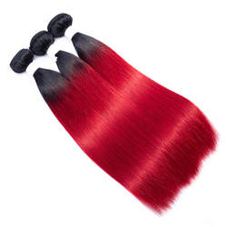 Темно-корень ombre Волосы remy расширение OT 130 Красный Ombre Цвет человеческие волосы бразильский Staight 3bundles ombre роза красная предварительно- цвет ed