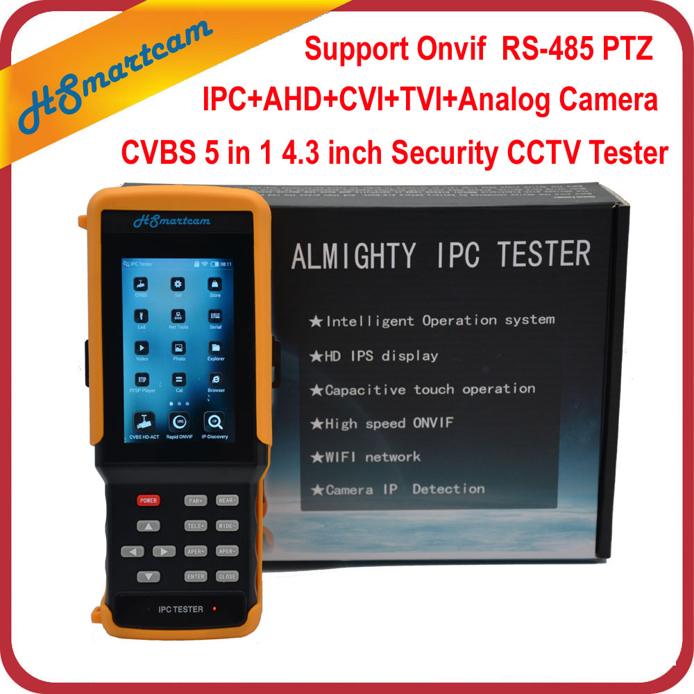 4.3 HD WiFi CCTV Testeur Moniteur AHD CVI TVI Analogique CVBS RS485 1080 p IP Caméra Testeur Soutien POE ONVIF Hikvision Dahua Caméra