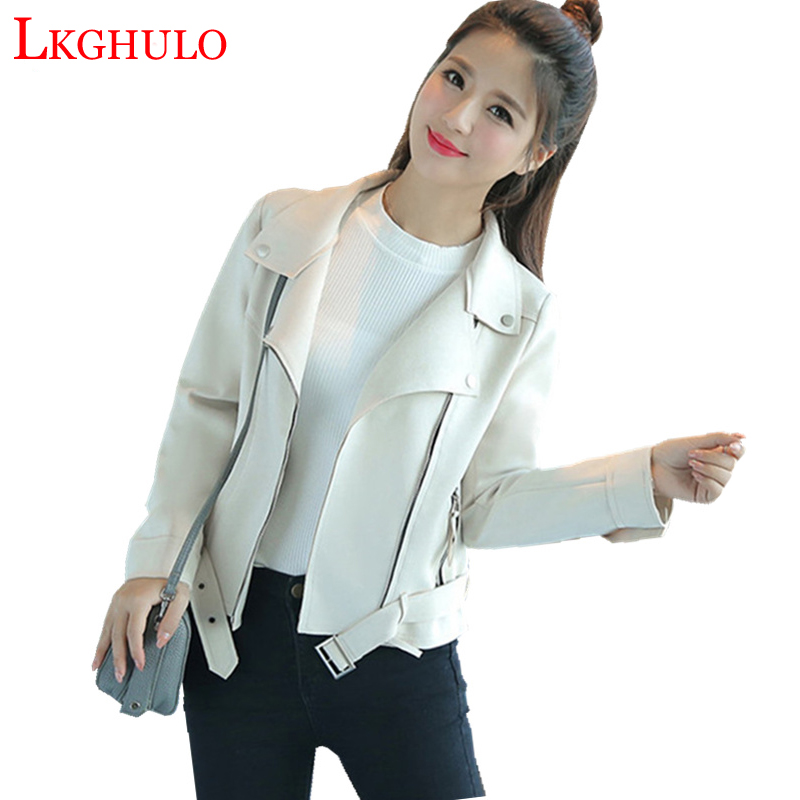 Leather     Suede   Faux   Leather   Jacket Women Zipper Belt Moto Jacket Cool Streetwear Ladies   Leather   Jackets Autumn Coat 2018 W348