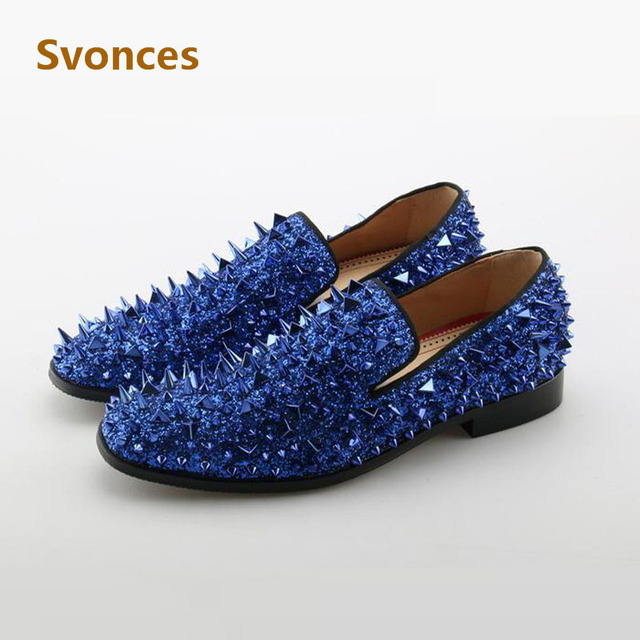 Luxury Bling Shinny Glitter Mens Shoes Fashion Crystal Spikes Designer Flats  Men Studs Zapatillas Rivets Casual d99cf7b21893