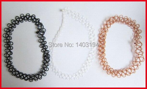 Envío gratis multi color plástico tattoo gargantilla collar negro/claro/marrón 3 unids/