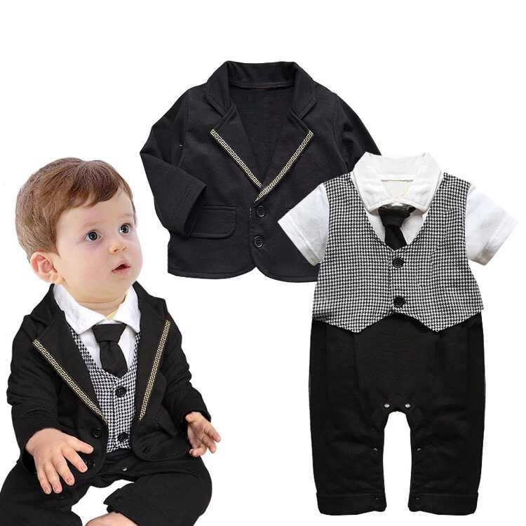 e5ed503ae Newborn Baby Boys Clothes Set Gentleman plaid Tie Romper + Jacket ...